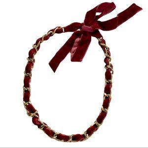 Alloy Velvet Woven Gold Chain Link Necklace, Wine